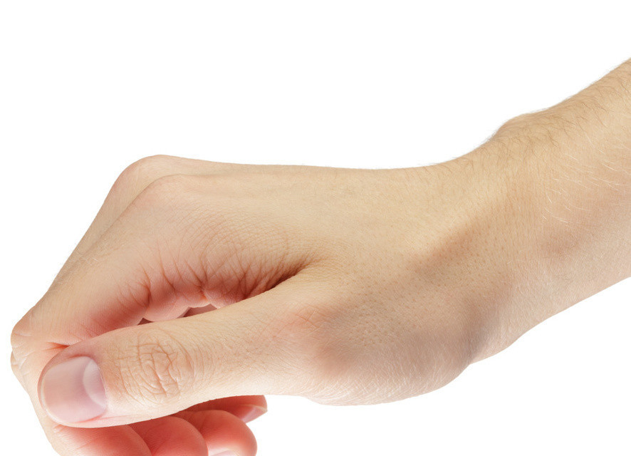 adult man hand to hold something like phone or tablet pc